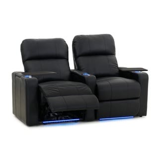 Octane Turbo XL700 Straight/ Power Recline/ Black Premium Leather Home Theater Seating (Row of 2)