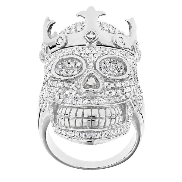 Luxurman Sterling Silver Men's 2 3/4ct TDW Diamond Skull Ring (G-H, SI1-SI2)