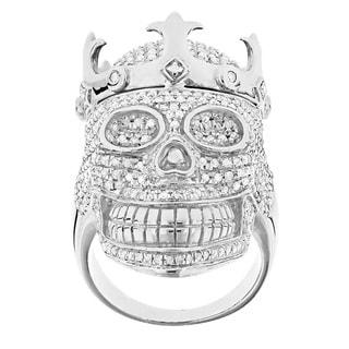 Luxurman Sterling Silver Men's 2 3/4ct TDW Diamond Skull Ring (G-H, SI1-SI2)