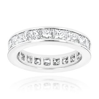 Luxurman Platinum 3 2/5ct TDW Diamond Eternity Band (G-H, VS1-VS2)