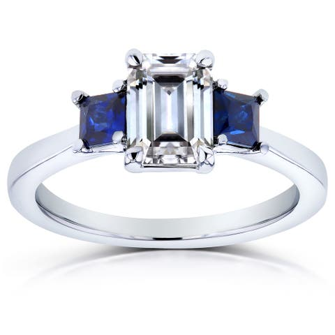 Annello by Kobelli 14k White Gold Emerald Cut Three Stone Moissanite and Blue Sapphire, Diamond Accented Engagement Ring