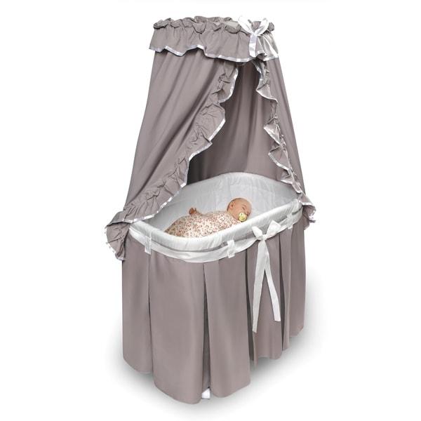 Majesty Baby Infant Bassinet w//Canopy /& Gray//White Bedding For Nursery NEW