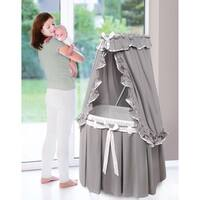 Majesty Grey/ White Classic Baby Bassinet with Canopy