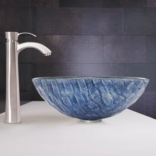 VIGO Rio Glass Vessel Sink and Otis Faucet Set in Brushed Nickel