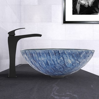 VIGO Rio Glass Vessel Sink and Blackstonian Faucet