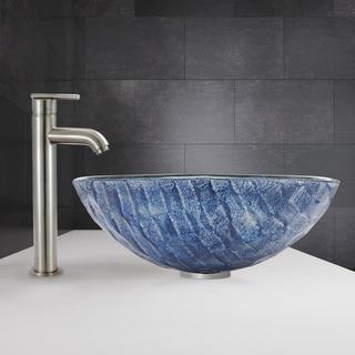 VIGO Rio Glass Vessel Sink and Seville Faucet Set in Brushed Nickel