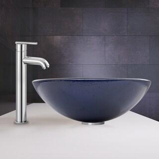 VIGO Indigo Eclipse Glass Vessel Sink and Seville Faucet set in Chrome