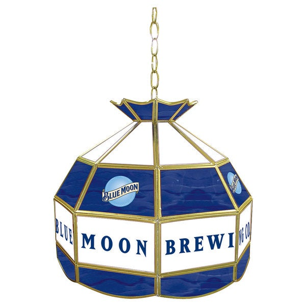 Blue Moon Stained Glass Tiffany Lamp - 16 inch diameter