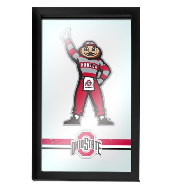 Ohio State Stripe Brutus Framed Logo Mirror
