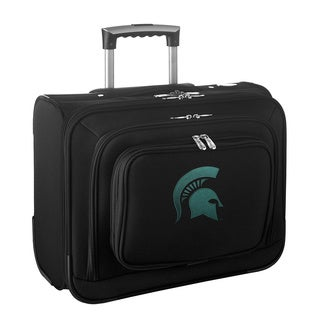 Denco Sports Legacy NCAA Michigan State Spartans Carry On 14-inch Laptop Rolling Overnight Tote