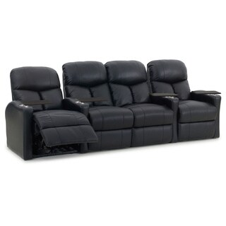 Octane Bolt XS400 Straight with Middle Loveseat/ Power Recline/ Black Premium Leather Home Theater Seating (Row of 4)