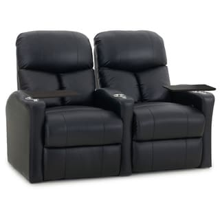 Octane Bolt XS400 Straight/ Power Recline/ Black Premium Leather Home Theater Seating (Row of 2)