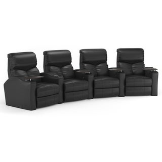 Octane Bolt XS400 Curved/ Power Recline/ Black Bonded Leather Home Theater Seating (Row of 4)