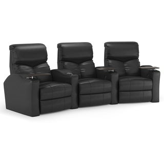 Octane Bolt XS400 Curved/ Power Recline/ Black Bonded Leather Home Theater Seating (Row of 3)