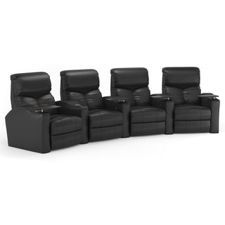 Octane Bolt XS400 Curved/ Manual Recline/ Black Bonded Leather Home Theater Seating (Row of 4)