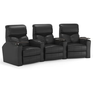 Octane Bolt XS400 Curved/ Manual Recline/ Black Bonded Leather Home Theater Seating (Row of 3)