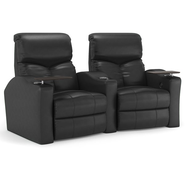 Octane Bolt XS400 Curved/ Manual Recline/ Black Bonded Leather Home Theater Seating (Row of 2 ...