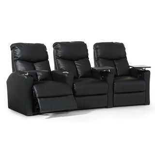 Octane Bolt XS400 Straight/ Power Recline/ Black Bonded Leather Home Theater Seating (Row of 3)