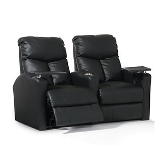 Octane Bolt XS400 Straight/ Power Recline/ Black Bonded Leather Home Theater Seating (Row of 2)