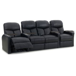 Octane Bolt XS400 Straight with Middle Loveseat/ Manual Recline/ Black Bonded Leather Home Theater Seating (Row of 4)