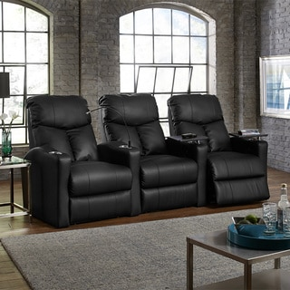 Octane Bolt XS400 Straight/ Manual Recline/ Black Bonded Leather Home Theater Seating (Row of 3)