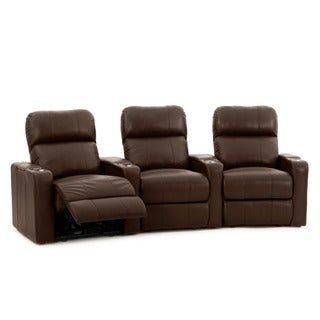 Octane Turbo XL700 Curved/ Power Recline/ Brown Premium Leather Home Theater Seating (Row of 3)