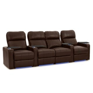 Octane Turbo XL700 Straight with Middle Loveseat/ Power Recline/ Brown Premium Leather Home Theater Seating (Row of 4)