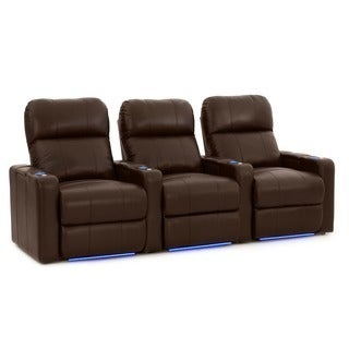 Octane Turbo XL700 Straight/ Power Recline/ Brown Premium Leather Home Theater Seating (Row of 3)