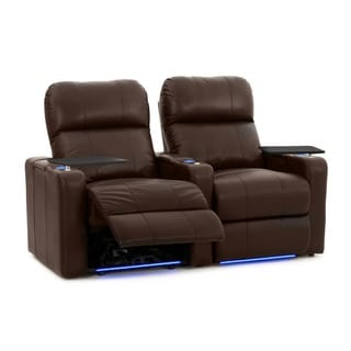 Octane Turbo XL700 Straight/ Power Recline/ Brown Premium Leather Home Theater Seating (Row of 2)
