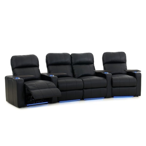 Octane Turbo XL700 Curved With Middle Loveseat/ Power Recline/ Black  Premium Leather Home Theater