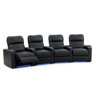 Octane Turbo XL700 Curved/ Power Recline/ Black Premium Leather Home Theater Seating (Row of 4)