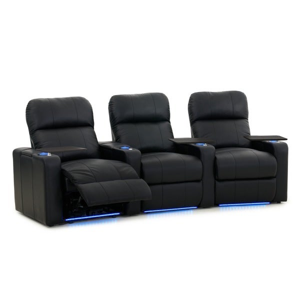 Octane Turbo XL700 Curved/ Power Recline/ Black Premium Leather Home Theater Seating (Row of 3). Opens flyout.