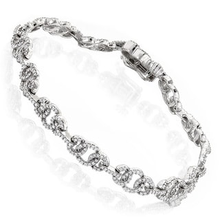 Luxurman 14k Gold 1 1/2ct TDW Pave Diamond Circle Bracelet (H-I, SI2-I1)
