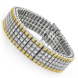 Luxurman 10k Gold 1 3/8ct TDW White and Yellow Diamond 5-row Bracelet (H-I, SI1-SI2)