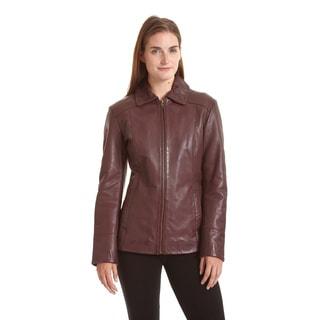 Women's Lambskin Zip Front Welt Pocket Scuba Jacket