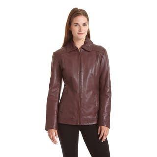 Excelled Women's Lambskin Zip Front Welt Pocket Scuba Jacket|https://ak1.ostkcdn.com/images/products/10657874/P17724092.jpg?impolicy=medium