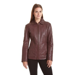 Excelled Women's Lambskin Zip Front Welt Pocket Scuba Jacket