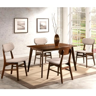 Peony Mid-Century Design Chestnut 5-piece Dining Set