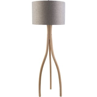 Contemporary Alton Floor Lamp with Natural Finish Wood Base