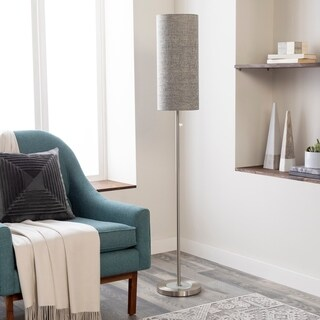 Modern Amble Floor Lamp with Brushed Nickel Finish Metal Base