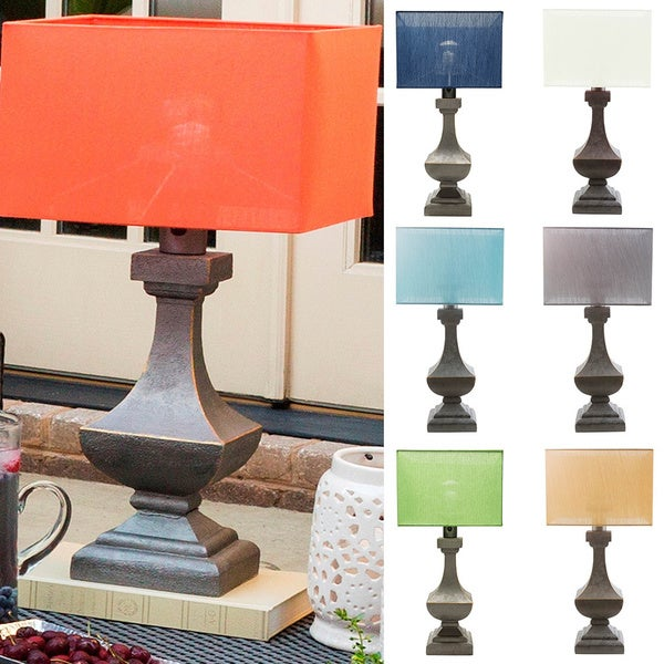 Lucy Outdoor Safe Table Lamp with Antique Pewter Finish Resin Base