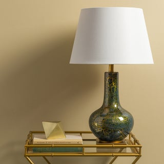 Rustic Haxby Table Lamp with Metallic Glass Base