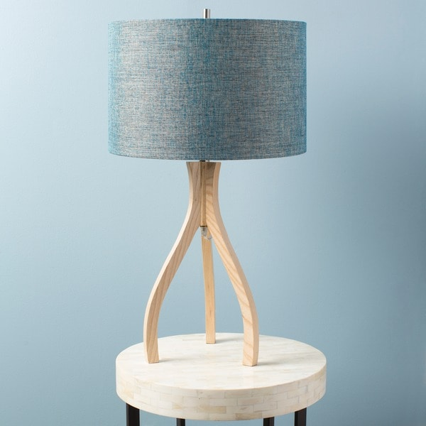 Contemporary Alton Table Lamp with Natural Finish Wood Base