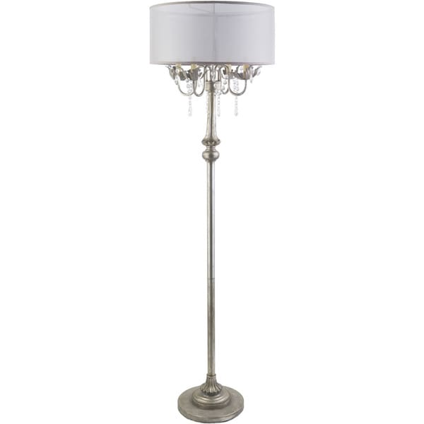Transitional Grays Floor Lamp with Antique Polyresin Base