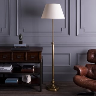 Casual Dusky Floor Lamp with Antique Brass Finish Iron Base