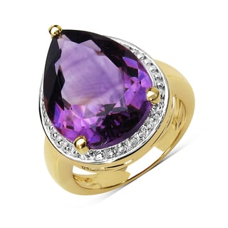 Olivia Leone 14k Yellow Goldplated Sterling Silver 9 5/8ct Amethyst Ring