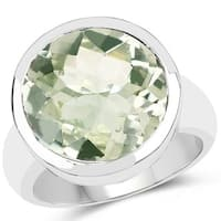 Olivia Leone Sterling Silver 9 3/4ct Green Amethyst Ring