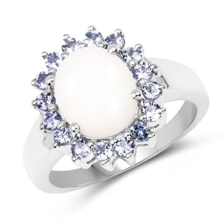 Olivia Leone Sterling Silver 2 3/8ct Opal and Tanzanite Ring