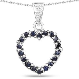 Olivia Leone Sterling Silver 4/5ct Blue Sapphire and White Diamond Accent Pendant