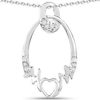 Olivia Leone Sterling Silver 1/6ct TDW Diamond Pendant (I-J, I2-I3)